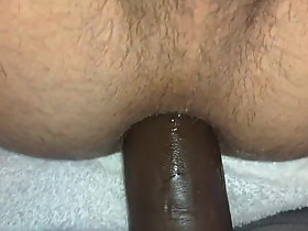 Amateur Wife Pegging me 14 inch BBC Dildo Balls Deep Ass Hol