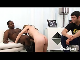 Jenny Leigh Rides A Black Guy While Her Man Watches
