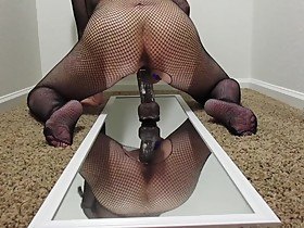Wet Horny Wife Rides BBC on Mirror in Body Suit