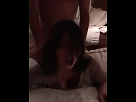 Wife talking to husband while BBC fucks her