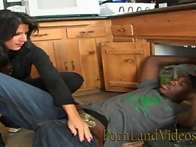 Sexy House Wife Mandy Fucking Young Black Plumber at the Kitchen