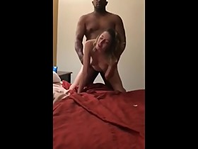 Husband films his young wife enjoying doggystyle sex with BBC in hotel room