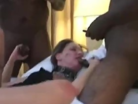 Hubby filming wife with a group of black men
