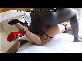 SEXIEST LEGS IN HEELS OF ALL-TIMES FUCKED BY BBC BIG BLACK COCK DOGGY STYLE IN HOTEL!