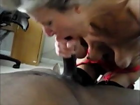 Interracial blowjob and rimjob mature wife sucking black BBC