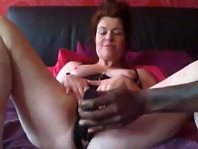 Sexy Wife Plays with Big Black Dildo and Squirts