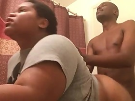 BBC GOES CRAZY WHEN HIS BBW WIFE THROWS THAT FAT ASS BACK AT HIM