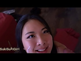 pov EPIC DEEPTHROAT Asian girl SUCKS his cock DRY