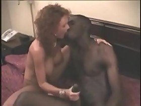 Redhead slutty hotwife kisses a LOT of black men